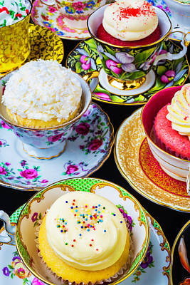 Cupcakes In Tea Cups Poster by Garry Gay