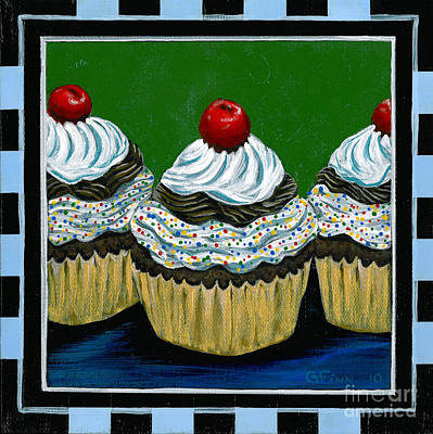 Poster featuring the painting Cupcakes With A Cherry On Top by Gail Finn