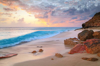 Cupecoy Beach Sunset Saint Maarten Poster