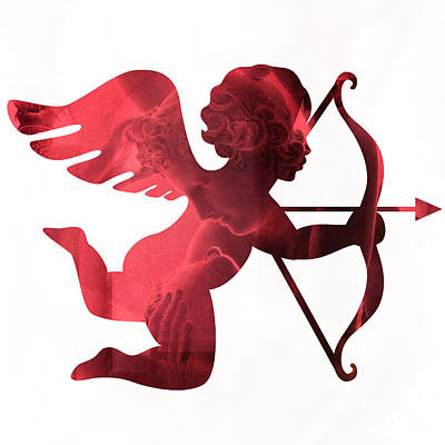 Cupid Psyche Valentine Art - Eros Psyche Valentine Cupid With Arrow Print - Red Valentine Art  Poster by Kathy Fornal