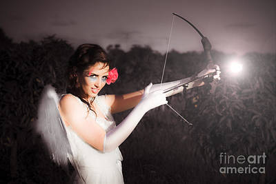 Cupid With Bow And Rose Arrow Poster