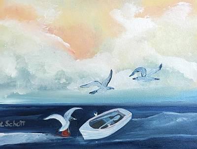 Curious Seagulls Poster