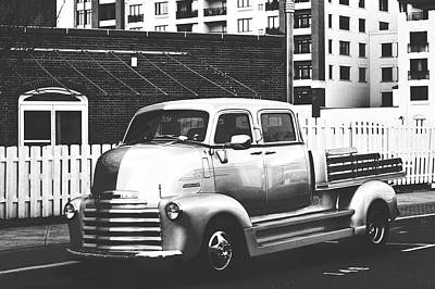 Poster featuring the photograph Custom Chevy Asbury Park Nj Black And White by Terry DeLuco