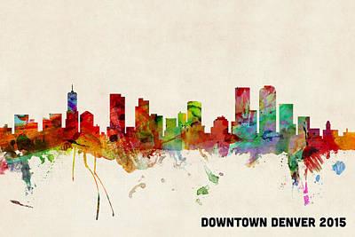 Custom Denver Skyline 2015 Poster by Michael Tompsett