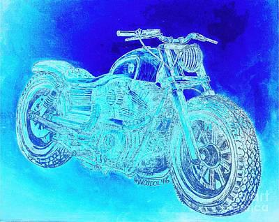 Custom Harley Davidson - Blue Ice Abstract Poster