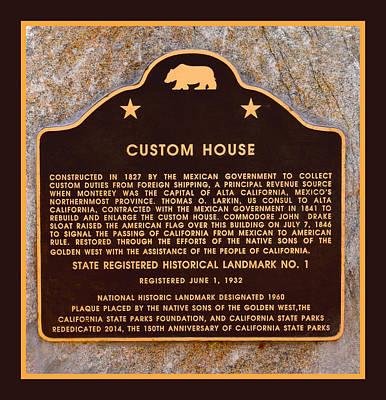 Custom House Plaza Monterey California Poster by Floyd Snyder