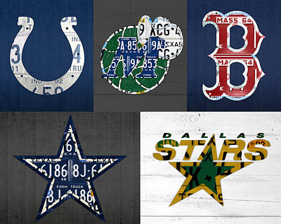 Custom Sports Team License Plate Art Combo Print No 001 Poster by Design Turnpike