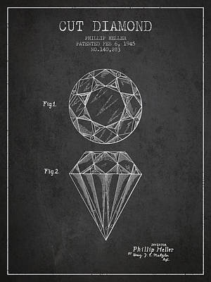 Cut Diamond Patent From 1873 - Charcoal Poster by Aged Pixel