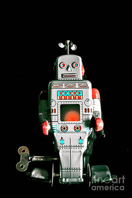 Cute 1970s Robot On Black Background Poster