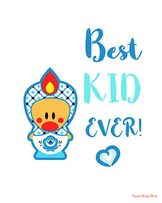 Cute Art - Blue And White Folk Art Sweet Angel Bird In A Nesting Doll Costume Best Kid Ever Wall Art Print Poster