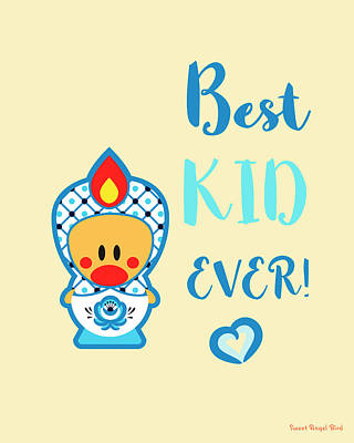 Cute Art - Blue, Beige And White Folk Art Sweet Angel Bird In A Nesting Doll Costume Best Kid Ever Wall Art Print Poster