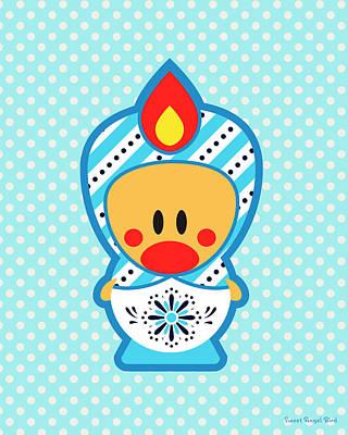 Cute Art - Blue Polka Dot Folk Art Sweet Angel Bird In A Matryoshka Costume Wall Art Print Poster
