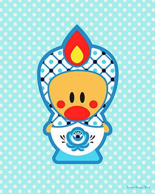 Cute Art - Blue Polka Dot Folk Art Sweet Angel Bird In A Nesting Doll Costume Wall Art Print Poster