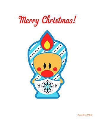 Cute Art - Merry Christmas Folk Art Sweet Angel Bird In A Nesting Doll Costume Wall Art Print Poster