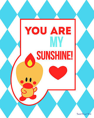 Cute Art - Sweet Angel Bird Blue You Are My Sunshine Circus Diamond Pattern Wall Art Print Poster