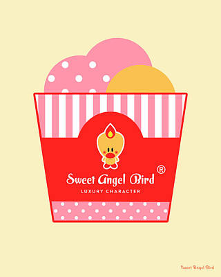 Cute Art - Sweet Angel Bird Ice Cream Party Wall Art Print, Home Decor, Unique Gift Poster