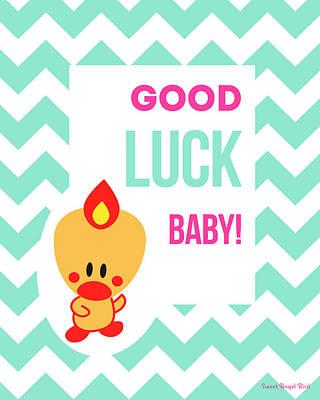 Cute Art - Sweet Angel Bird Light Teal Good Luck Baby Chevron Wall Art Print Poster