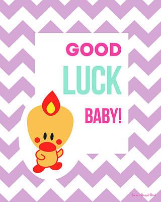 Cute Art - Sweet Angel Bird Lilac Good Luck Baby Chevron Wall Art Print Poster