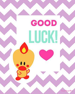 Cute Art - Sweet Angel Bird Lilac Good Luck Chevron Wall Art Print Poster