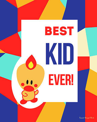 Cute Art - Sweet Angel Bird Multicolor Colorblock Best Kid Ever Wall Art Print Poster