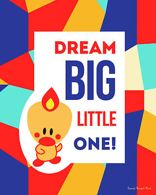 Cute Art - Sweet Angel Bird Multicolor Colorblock Dream Big Little One Wall Art Print Poster