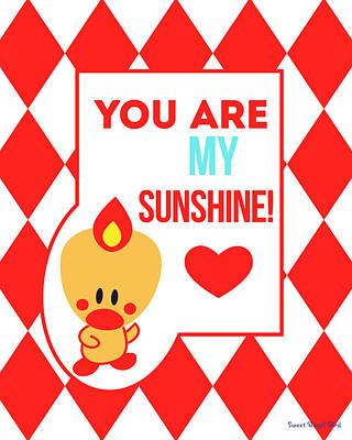 Cute Art - Sweet Angel Bird Red You Are My Sunshine Circus Diamond Pattern Wall Art Print Poster
