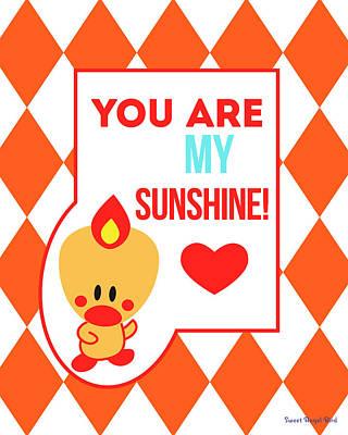Cute Art - Sweet Angel Bird Terra Cotta You Are My Sunshine Circus Diamond Pattern Wall Art Print Poster