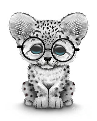 Cute Baby Snow Leopard Cub Wearing Glasses Poster