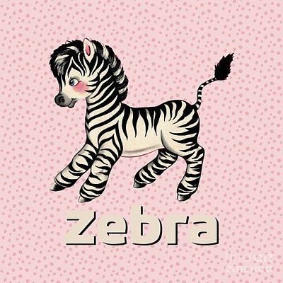 Cute Baby Zebra Pattern Vintage Book Illustration Pattern Poster