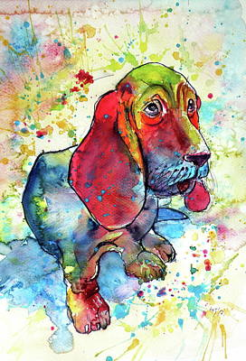 Poster featuring the painting Cute Basset Hound by Kovacs Anna Brigitta