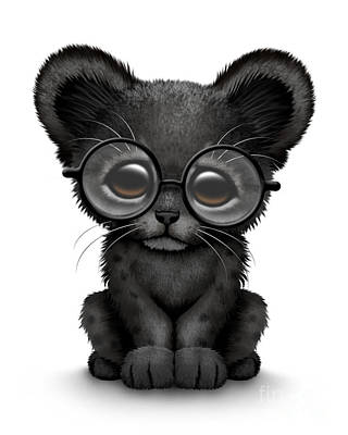 Cute Black Panther Cub Wearing Glasses Poster