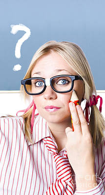 Cute Blond Girl In Glasses Asking Big Question Poster by Jorgo Photography - Wall Art Gallery