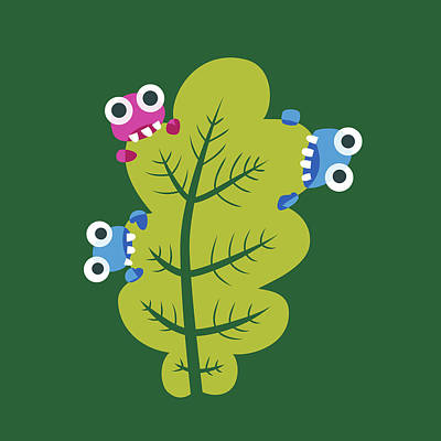 Cute Bugs Eat Green Leaf Poster