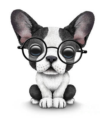 Cute French Bulldog Puppy Wearing Glasses Poster