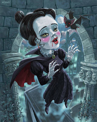 Cute Gothic Horror Vampire Woman Poster by Martin Davey