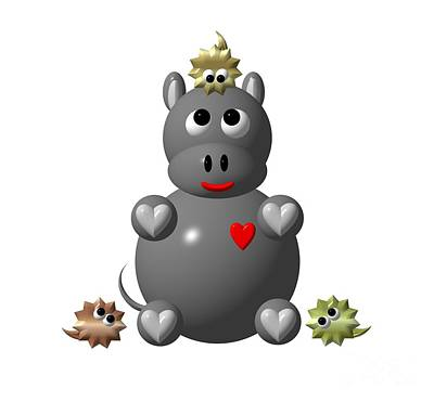 Cute Hippo With Hamsters Poster