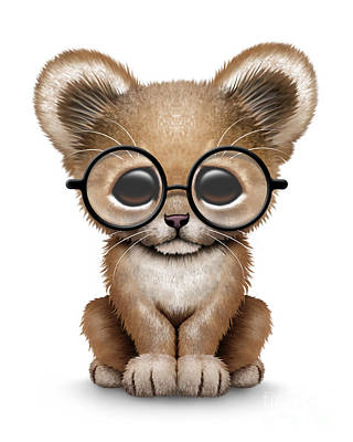 Cute Lion Cub Wearing Glasses Poster