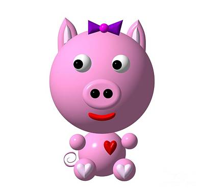 Cute Pink Pig With Purple Bow Poster