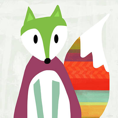 Cute Purple And Green Fox- Art By Linda Woods Poster by Linda Woods