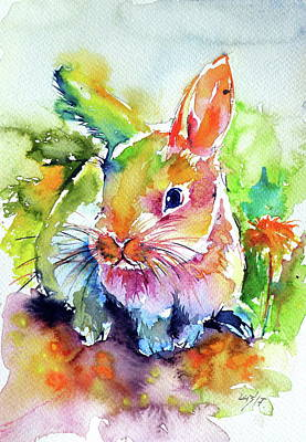 Poster featuring the painting Cute Rabbit by Kovacs Anna Brigitta