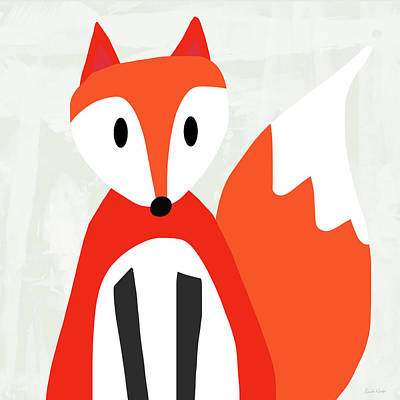 Cute Red And White Fox- Art By Linda Woods Poster