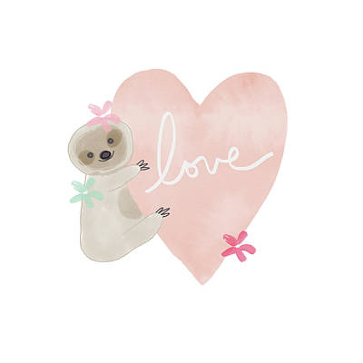 Cute Sloth With Heart Coral- Art By Linda Woods Poster