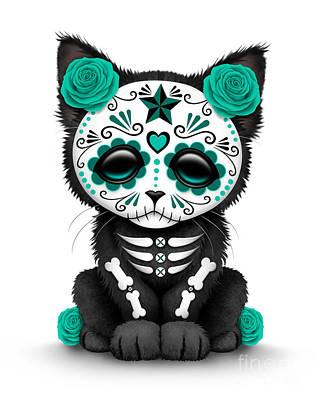 Cute Teal Blue Day Of The Dead Kitten Cat  Poster by Jeff Bartels