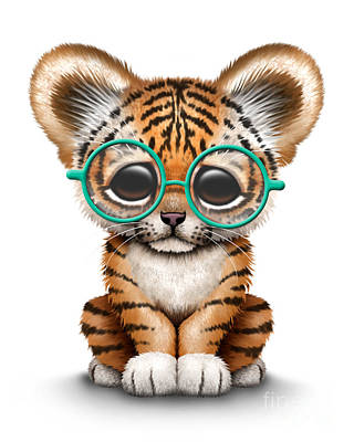 Cute Tiger Cub Wearing Glasses Poster