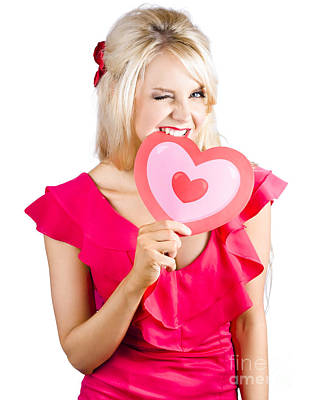 Cute Woman Biting Big Red Love Heart Poster by Jorgo Photography - Wall Art Gallery