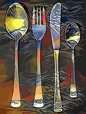 Cutlery Set Drawing Poster by Miroslav Nemecek
