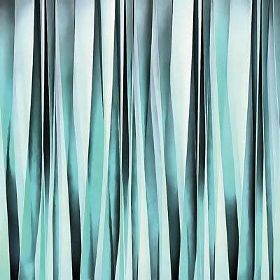 Cyan Blue Ocean Stripey Lines Pattern  Poster