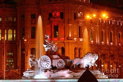 Cybele Fountain Illuminations Madrid Poster by James Brunker