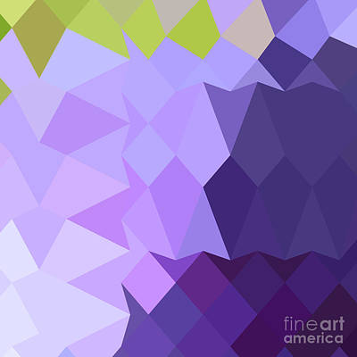 Cyber Grape Purple Abstract Low Polygon Background Poster