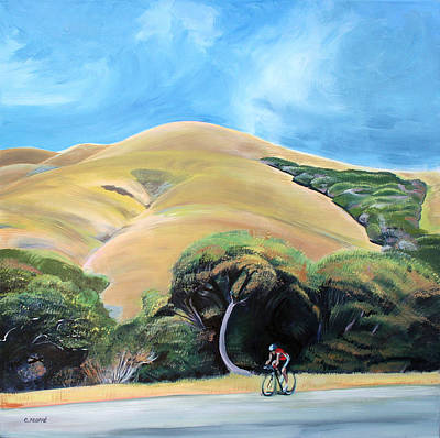 Cyclist By Elephant Mountain Poster by Colleen Proppe